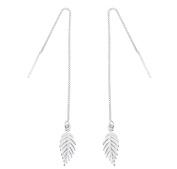iszie jewellery sterling silver sweet little leaf threader earrings, dangle feather earrings , star pull through earrings
