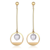 Daesar Gold Plated Dangle Earrings For Women Round with Freshwater Pearl on Drop Earrings
