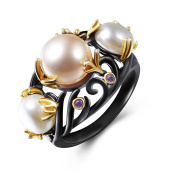 JAJAFOOK Women's Ring Gold Plated Wedding Rings 3 Pearls Purple Zirconia Black for Women
