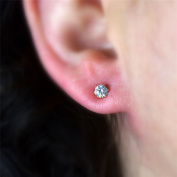 Blue Diamond Club - 9ct Rose Gold Filled Womens Small 4mm Stud Earrings with Sparkling White CZ Crystals 9K GF