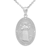 925 Sterling Silver St.Francis of Assisi Oval Medallion CZ Stone Pendant Necklace (Medium)