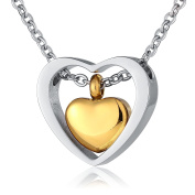 Beydodo Custom Stainless Steel Double Heart Rose Gold Cremation Urn Necklace Pendant Ash Holder Necklace