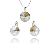 """Rivoli Crystals & Stones * * * """"Moonlight Jewellery Set Earrings and Pendant With Silver Chain with Original Elements – with Gift Box Made of 925 Silver"""