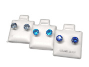 Set of 3 Pairs 925 Sterling Silver Cubic Zirconia Round Stud Earrings. 6mm size. Aqua, Blue Topaz & Blue Sapphire Colours. Unisex. Brand New & Boxed.