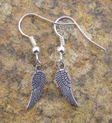 Dainty Angel Wing earrings, Silver Colour Charm and Plated Hooks Modern Style