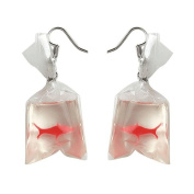 Pu Ran Women Funny Goldfish Water Bag Shape Dangle Hook Earrings Charm Jewellery Gift