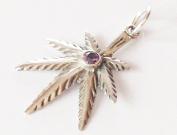 Amethist leaf silver pendant