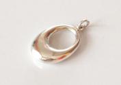 Plain silver oval pendant