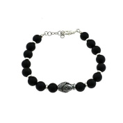 Onyx Bracelet 8 mm with Washers and Closure in 925 silver, and Central Buddha in Brass Satin