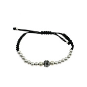 Scoubidou Bracelet with 5 mm Silver Balls And Central Brass 8 mm Ball with Black Zirconia