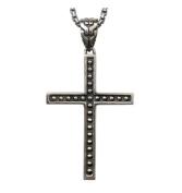 XYLUCKY Men's 925 Sterling Silver Necklace Vintage Cross Pendant Long Necklace , 60cm
