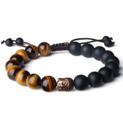 Chakra Prayer Beads Buddhist Bracelet for Man hsingfu with Buddha Head Bronze 10 mm Black Onyx and Tiger & # X152, Colour Yellow, Size Adjustable