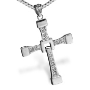 AllRight Mens Silver Crystal Cross Pendant Necklace Chain