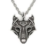 Unique Handmade Antique Silver Viking Wolf Pendant Head Necklace Metal Chain