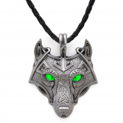 Unique Viking Wolf Pendant Head Necklace Emerald Green Eyes Handmade Antique Grey Leather