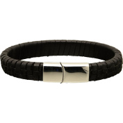 B2L Steel Collection Buddha to Light Ace Woven Bracelet Leather Black, Length
