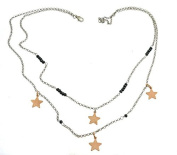 Hematite Double Rolo Necklace With Washers And Stars Drop 925 Sterling Silver