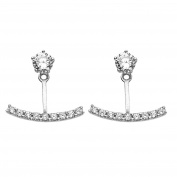 diamantly Barrette Crystal Earrings Gold 375/1000 Grey