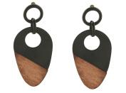 Natural Light Brown Bamboo Wood & Black Metal Elegant Earth Tone Dangle Earrings by Pashal …
