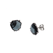 Earrings Sterling Silver with Quartz Blue Size Irregular