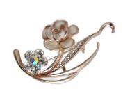 Signature Elegant Rose Gold Enamel Crystal Floral Brooch