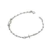White Gold Plated Hypo-Allergenic 3 mm Balls 925 Sterling Silver Rosary Bracelet