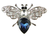 Signature Sapphire Blue Crystal Bee Brooch in Silver Tone