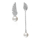 Ladies Asymmetric Earrings Angel Wings Pearl Stud Earrings 925 Sterling Silver Christmas Gift
