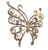Signature Rose Gold Pearl/ Clear Crystal Butterfly Brooch