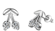 Women's Earrings with Cubic Zirconia Cherry Stud Earrings 925 Sterling Silver Christmas Gift