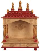 Mereappne Pooja Mandir For Home Rajasthani Vintage Wooden Temple Chowki Indian Ethnic Style Pooja Maandir