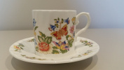 Aynsley Cottage Garden, Coffee Can & Saucer 2 Pcs Made In England