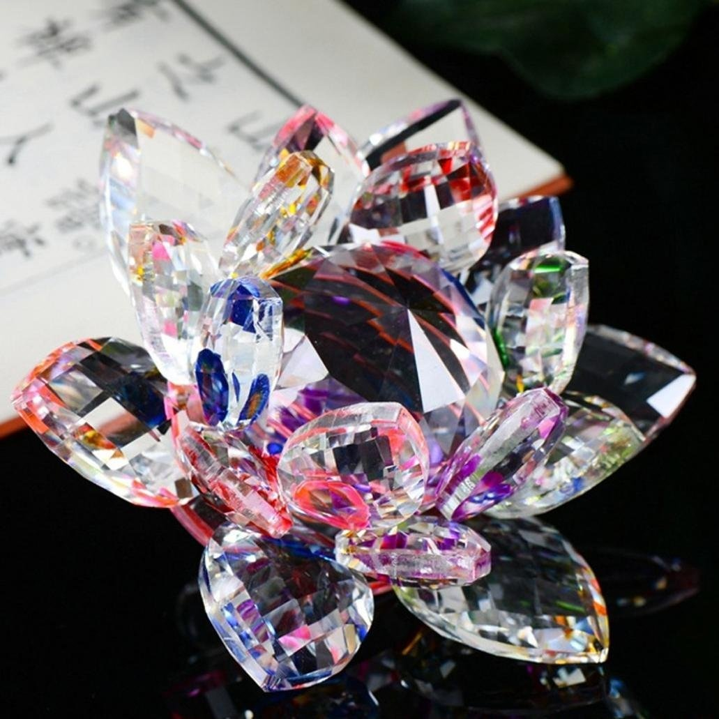 Homyl Crystal Lotus Flower Buddhist Ornament Art Glass Paperweight