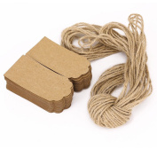 WINOMO Gift Tags Kraft Paper tags for Wedding Brown Rectangle Craft Hang Tags with Free 30m Natural Jute Twine 9* 4cm 50PCS