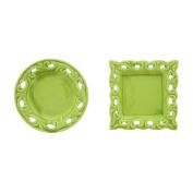 Car Bomboniere Ops Decorative Saucer, Porcelain, Green, 11 x 9 x 18 cm, 6 Units
