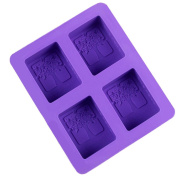 outflower 4 Square Cavity Rectangle DIY Soap Mould moulessilicone Cakes Chocolate Jelly Ice Cake Silicone Mould