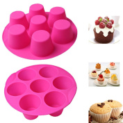 Tonsee 7 Cavity Cupcake Silicone Cake Muffin Chocolate Pudding Baking Tray DIY Pan Mould