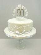 CAKE DECORATION DIAMOND 90th BIRTHDAY DIAMANTE CAKE TOPPER WITH MATCHING RIBBON