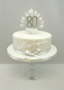CAKE DECORATION DIAMOND 80th BIRTHDAY DIAMANTE CAKE TOPPER WITH MATCHING RIBBON