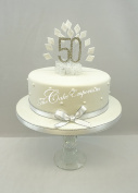 CAKE DECORATION DIAMOND 50th BIRTHDAY DIAMANTE CAKE TOPPER WITH MATCHING RIBBON