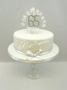 CAKE DECORATION DIAMOND 65th BIRTHDAY DIAMANTE CAKE TOPPER WITH MATCHING RIBBON
