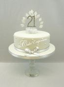 CAKE DECORATION DIAMOND 21st BIRTHDAY DIAMANTE CAKE TOPPER WITH MATCHING RIBBON