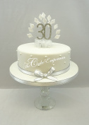 CAKE DECORATION DIAMOND 30th BIRTHDAY DIAMANTE CAKE TOPPER WITH MATCHING RIBBON