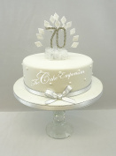 CAKE DECORATION DIAMOND 70th BIRTHDAY DIAMANTE CAKE TOPPER WITH MATCHING RIBBON