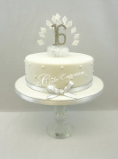 CAKE DECORATION DIAMOND 16th BIRTHDAY DIAMANTE CAKE TOPPER WITH MATCHING RIBBON