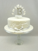 CAKE DECORATION DIAMOND 13th BIRTHDAY DIAMANTE CAKE TOPPER WITH MATCHING RIBBON
