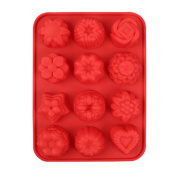 Espeedy 12 Cavity Flower Shape Silicone Mould Cake Chocolate Candy Lollipop Mould DIY Baking Tools
