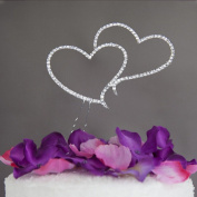 ele ELEOPTION Cake Topper Double Love Heart Cake Decoration Glitter Rhinestone Crystals Cake Topper For Wedding / Engagement / Birthday Party / Anniversary, Silver