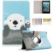 Fire 7 Case, Dteck(TM) Slim Fit Lightweight Flip Stand Leather Case Kids Friendly Protective Cover for Amazon Kindle Fire 18cm Tablet 5th Gen 2015 Release, Cute Bear