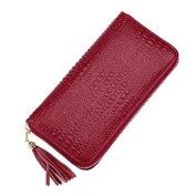 DcSpring Women's Long Wallet Genuine Leather Ladies Clutch Large Capacity Purse Zip Vintage Credit Card Organiser Elegant